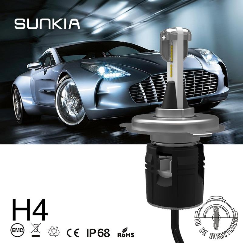 SUNKIA 2Pcs/Set H4 High Low Beam B6 Car LED Headlight IP68 Waterproof 48W 7200LM 6000K Pure White Auto Bulbs Kit Car Styling