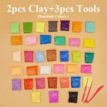 2 шт цветная глина+ 3 шт инструменты воздушная сухая плейтесто пена для моделирования Глина податливая DIY мягкий хлопок полимер образование ремесло Детские игрушки