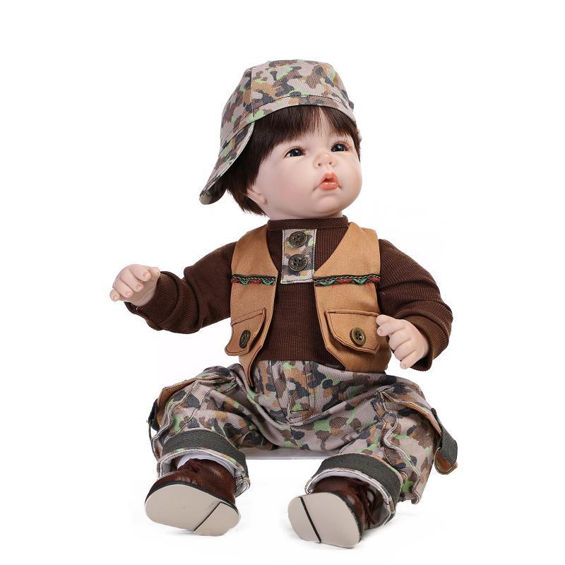 Supernatural 55cm 22inch Army Style Reborn Silicone Doll NPK Brand Bonecas Reborn De Silicone Hot Boy