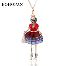 Handmade Doll Necklace Women Girl 3 Color Dress Pendant Long Chain Fashion Jewelry Lovely Design collier femme Gifts 2018 Hot