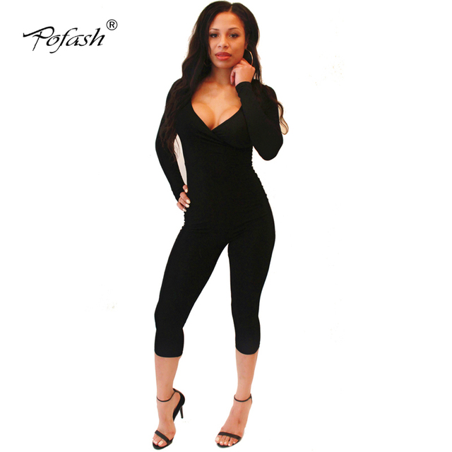 2017 Spring Womens playsuits and jumpsuits v neck sexy long sleeves bodycon black jumpsuit    drop shipping