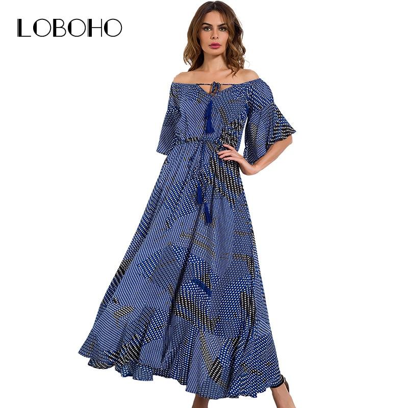 Off Shoulder Maxi Dress Autumn 2017 New Arrival Printed