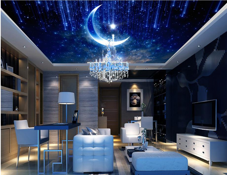 custom wallpapers for living room 3 d ceiling Star Moon 3d ceiling photo wall mural luxury 3d ceiling murals wallpaper