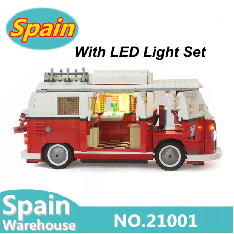 21001 City Camper Car Bus Building Blocks Kits Volkswagen T1 Camper Technic Car 10220 Creator Toys