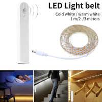 LED Strip lamp 1m 2m 3m Wireless PIR Motion Sensor LED Bed Closet Night light 5V 2835 LED Strip AAA Battery Power Flexiable lamp