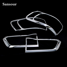 Sansour Auto Exterior  ABS Chrome Tail Light Rear Lamp Cover Trim  for Jeep Grand Cherokee 2014-2015 x 4Pcs