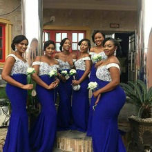 Long Wedding Party Guest Dress Woman Royal Blue Plus Size Bridesmaid Dresses
