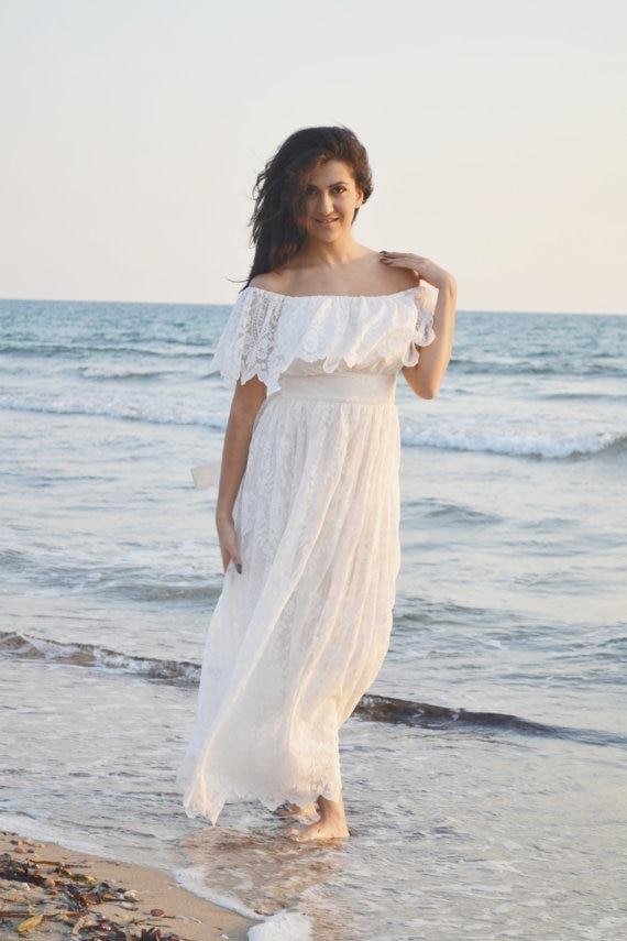 Bohemian Lace Wedding Dress 2017 Summer Beach Bridal Gowns Vintage