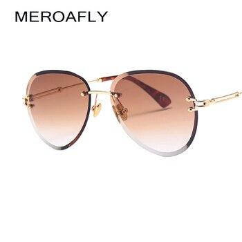 MEROAFLY Retro Rimless Sunglasses Women Vintage Brand Design Orange Brown Gradient Frameless Sun glasses For Women UV400 Oculos