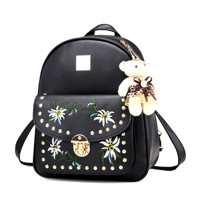 2017 black white gray pink 4 in 1 women lady embossing vantage flower printed PU embroider