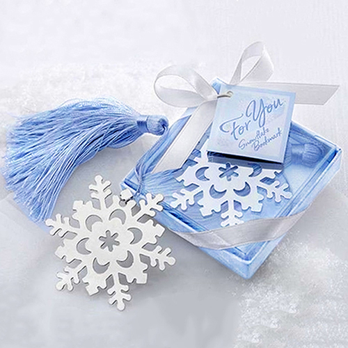 Lovely Cute Snowflake Creative Alloy Bookmark With Ribbon Box Gift Wedding Decor