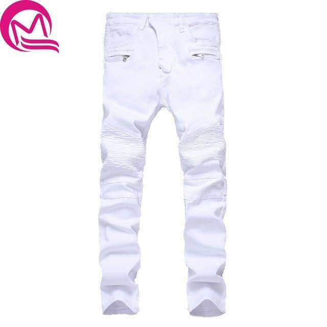 d2e5f53cce2 Streetwear Mens Ripped Biker Jeans homme Men s fashion Motorcycle Slim Fit  Black White Blue Moto Denim