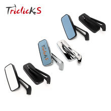 Triclicks Rectangle Rear View Mirrors Universal CNC Side Mirror 3 Colors Aluminium RearView For Motorcycle Honda Yamaha 8/10mm mz universal motorcycle aluminium diamond cnc rearview anti glare mirrors silver blue