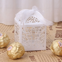 50Pcs Cross Laser Cut Candy Boxes W Ribbon Wedding Party Baby Shower Favor Gift H062731