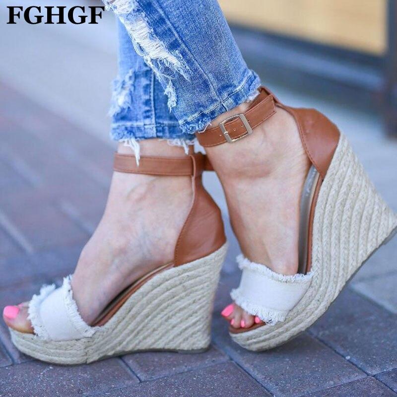 e69e19ab121 De Tejido Zapatos Mujer Sandalias 43 Hebilla Talones 35 Las Tobillo Cuñas  Mujeres White Y429 Alta ...