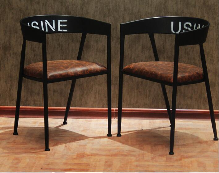 4 PCS free shipping. Wrought iron solid wood dining chair. Leisure chairs. Coffee chairs. free shipping dining stool bathroom chair wrought iron seat soft pu cushion living room furniture