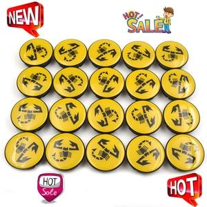 Image 1 - 20 pc/lote 56mm amarelo abarth carro emblema roda centro hub tampa aro emblema tampas centro roda escorpião 5ja601151a