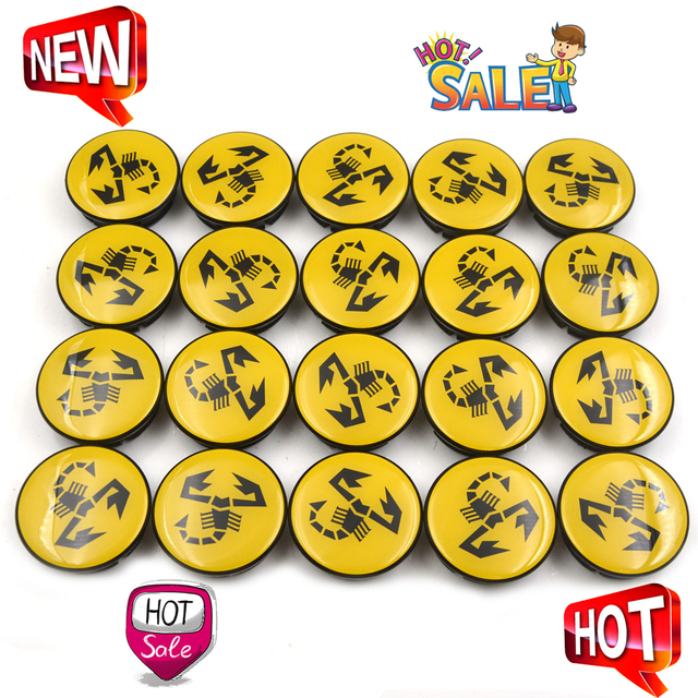 20 pc/lote 56mm amarelo abarth carro emblema roda centro hub tampa aro emblema tampas centro roda escorpião 5ja601151a