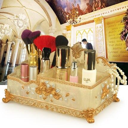 Résine cosmétiques boîte de rangement style européen bureau non-acrylique boîte à bijoux soins de la peau cosmétiques boîte de maquillage boîte de rangement