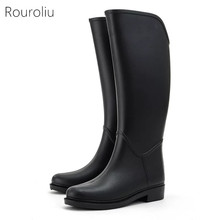 Hot New Women Fashion PVC Knee-high Rain Boots Flat Heels Tall Rainboots Waterproof Water Shoes Wellies Boots Good Quality #TR31
