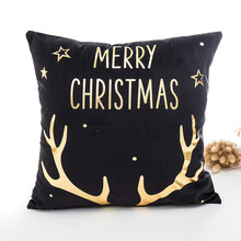 Merry Christmas Pillow Case Gold Foil Print Throw Decorative Pillow Cover