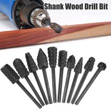 10pc/set 1/4'' 6mm Shank Rotary Rasp File Wood Cutter Woodworking Tool Accessories Mini Rotary Rasp File Burr Set Polishing Tool