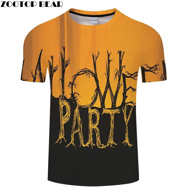 Halloween Party Printed tshirt Men t shirt Drop Ship Tops Tees Mens t-shirt Short Sleeve Camiseta Mens Shirts 2018 ZOOTOP BEAR