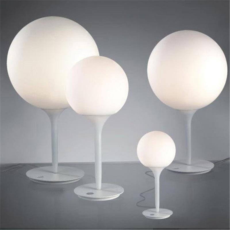 Metal White Glass Ball Table Lamp Designer Modern Office Contemporary Desk  Decorations Lamp For Bedroom Living