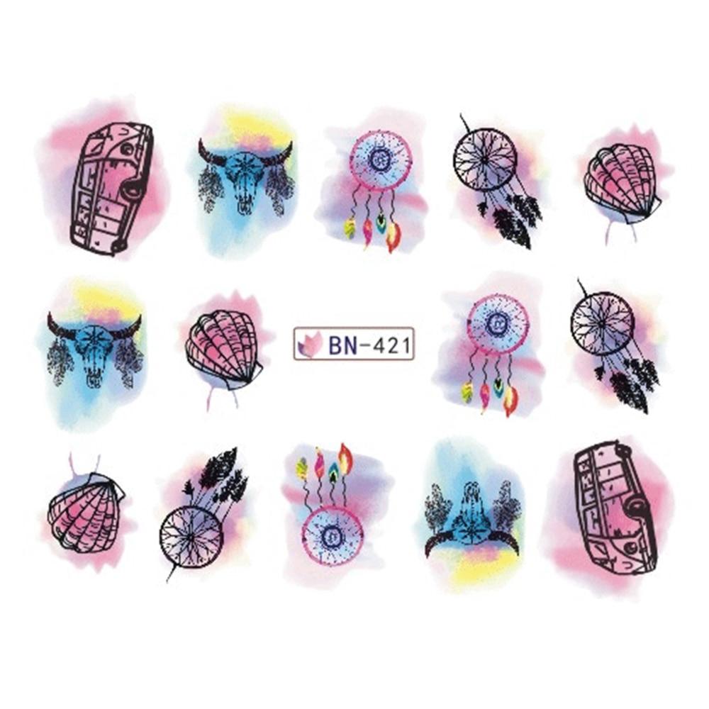 Mixed 12 Designs/Lot Aquarell Schrittweise Aufkleber Nail art ...