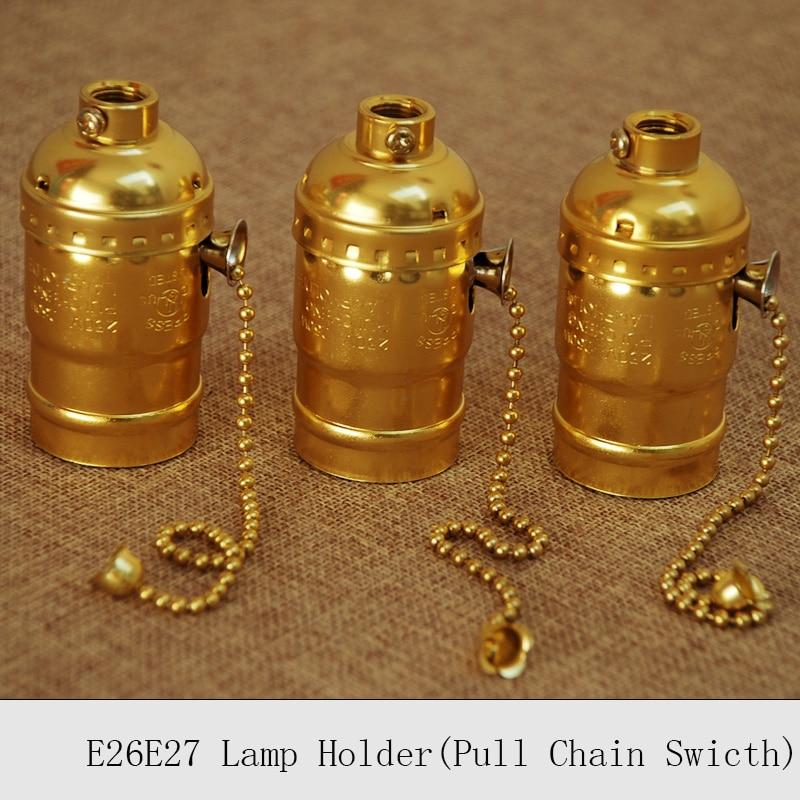 UL edison Цоколи e26e27 Винтаж лампы гнездо золото ретро тянуть цепи переключателя подвесной светильник держатели 10 шт