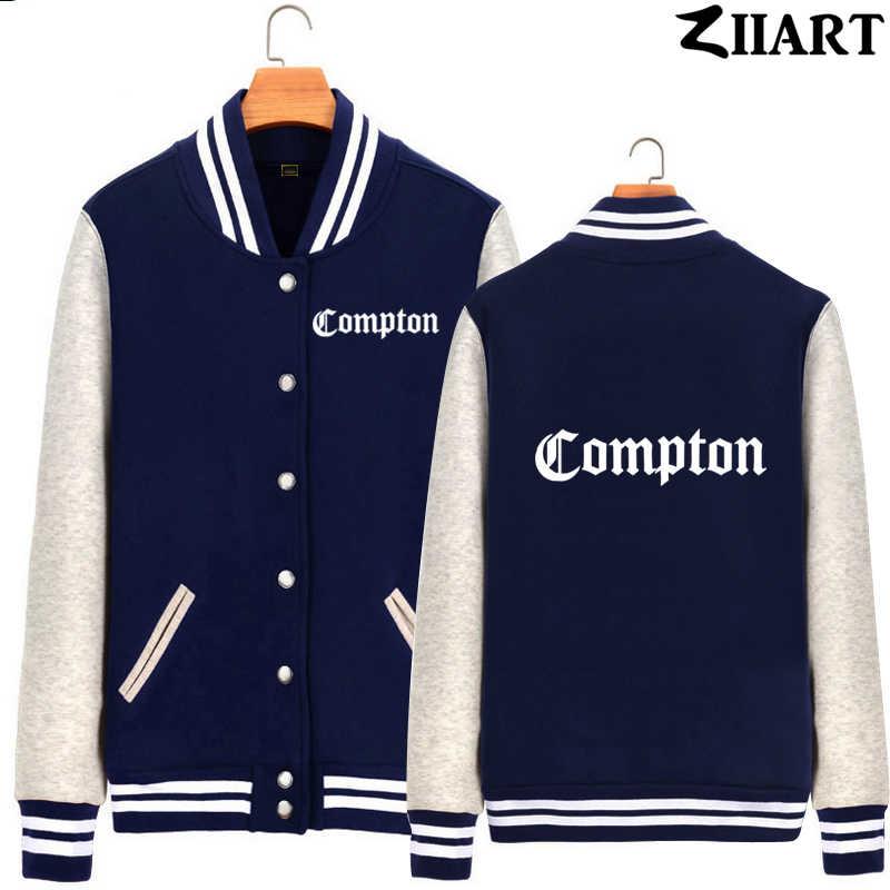 Compton gotycka czcionka Hip Hop Rap odzież dla par Man Boys pełna Zip jesienno-zimowa polarowa kurtka bejsbolówka ZIIART