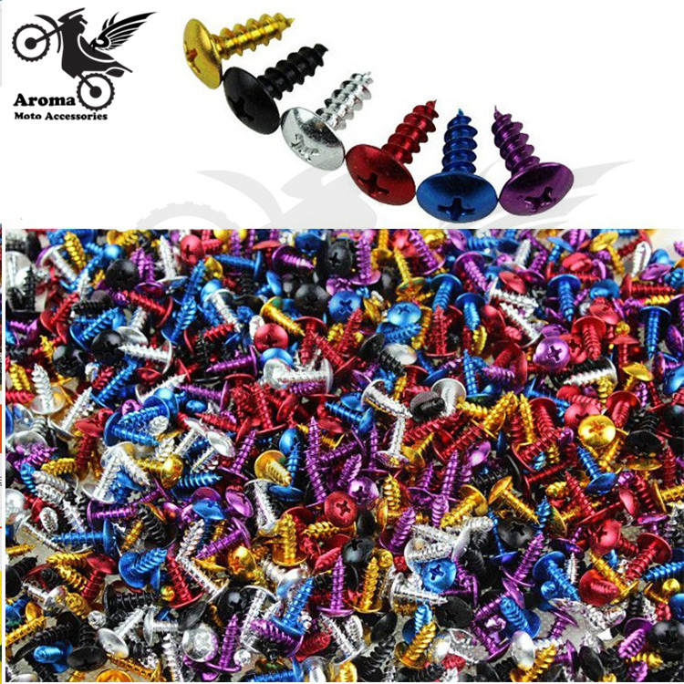 30pcs 6 colors red blue yellow purple silver black decal motocross nuts bolts 2cm motorbike parts decal Off-road dirt pit bike accessories colorful decoration motocross pointed screw moto screw motorcycle tip screw