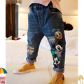 2017 Autumn new Korean children's clothing children jeans Korean fashion cartoon printed trousers size 90-130