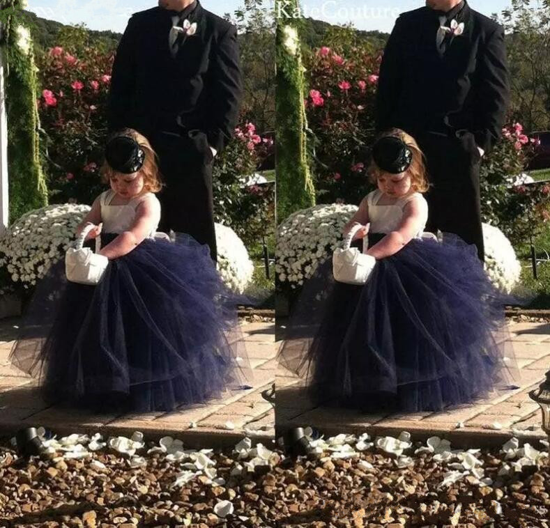Фотография Cute Navy Blue Fluffy Baby Girls Birthday Gown Lace Tulle Long Flower Girls Dresses for Wedding Ball Gown Any Size Color