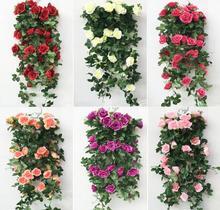 "2pcs 35"" Artificial Artificial Rose Wall Flower Bouquet Ivy Garland Silk Vine Greenery For Wedding Home Decorative"
