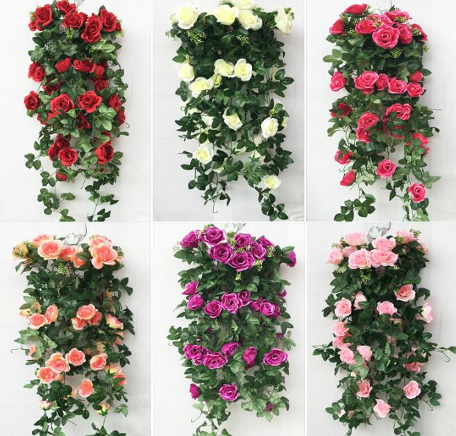5pcs 2 4meter Artificial Lily Rose Flower Ivy Garland Silk Vine Greenery For Wedding Home