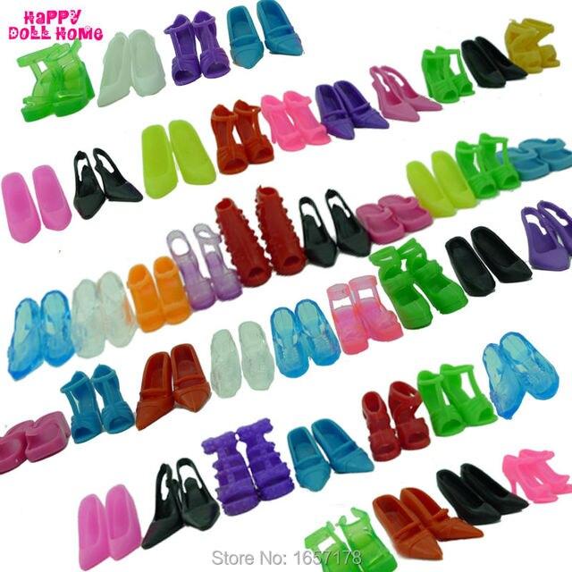 12 pares Mistos Acessórios de Moda Coloridos Sapatos De Salto Alto Sandálias Para Sapatos Boneca Barbie Roupas Vestido Prop Bebê Menina Melhor Presente brinquedos