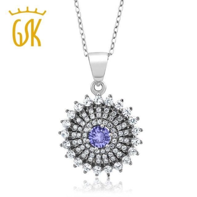 GemStoneKing 1.62 Ct Round Blue Natural Tanzanite 925 Sterling Silver Pendant  Necklace Women Fine Jewelry