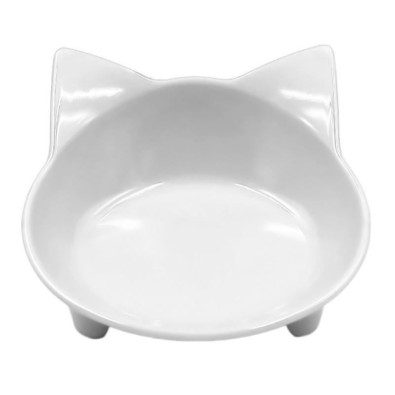 Автомобильная чаша, 8 цветов, кошачья форма, посуда для домашних питомцев, миска для домашних питомцев, кормушка для кошек и собак, посуда для маленьких собак, миска для воды, аксессуары для домашних животных - Цвет: White