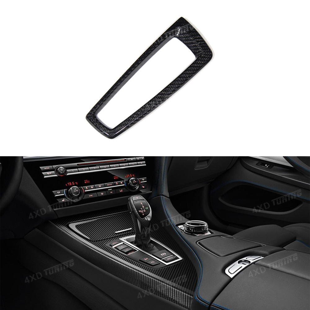 For BMW 5 6 7 Series F10 F07 F12 F06 F13 F01 Carbon Fiber Gear Base Surround Cover interior Trim Sticker Only Left Hand Drive car styling central handbrake auto h button left side decorative cover trim for bmw 5 6 7 series f10 gt f07 auto accessories