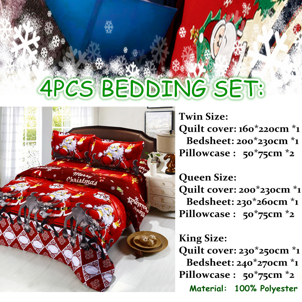Great For Christmas, Set 4Pcs Christmas Santa Clause, 3D Bedding Set Duvet Cover Set,Sheet, Pillowcase, Sham Covers 1