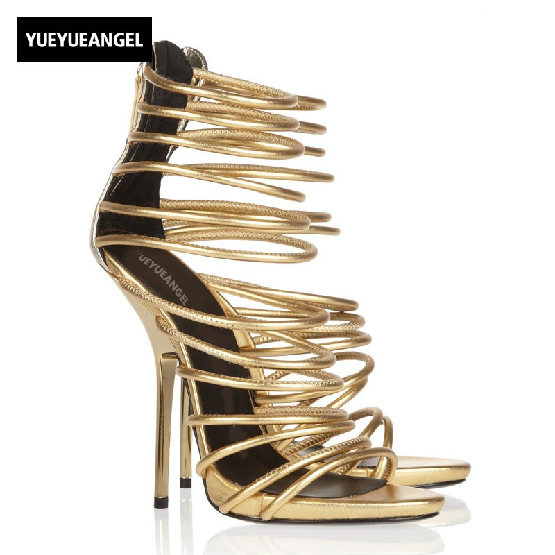 Sexy Ladies Fashion Super Thin High Heels Sandals Women Platform Golden Sheepskin Genuine Leather Strap Night Club Party Shoes 2018 new womens sexy super high heel peep toes night club shoes striped hollow out sheepskin leather sandals large size zapatos