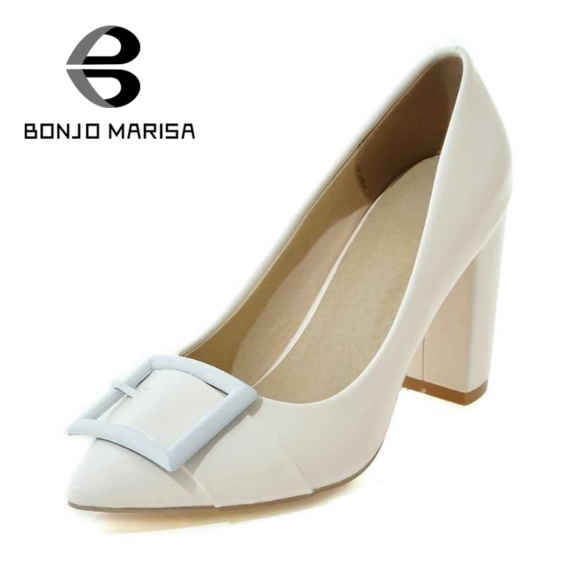 ФОТО BONJOMARISA Buckle Women Pumps Sexy Square High Heel Pointed Toe Less Platform Shoes Party Wedding Big Size 33-43