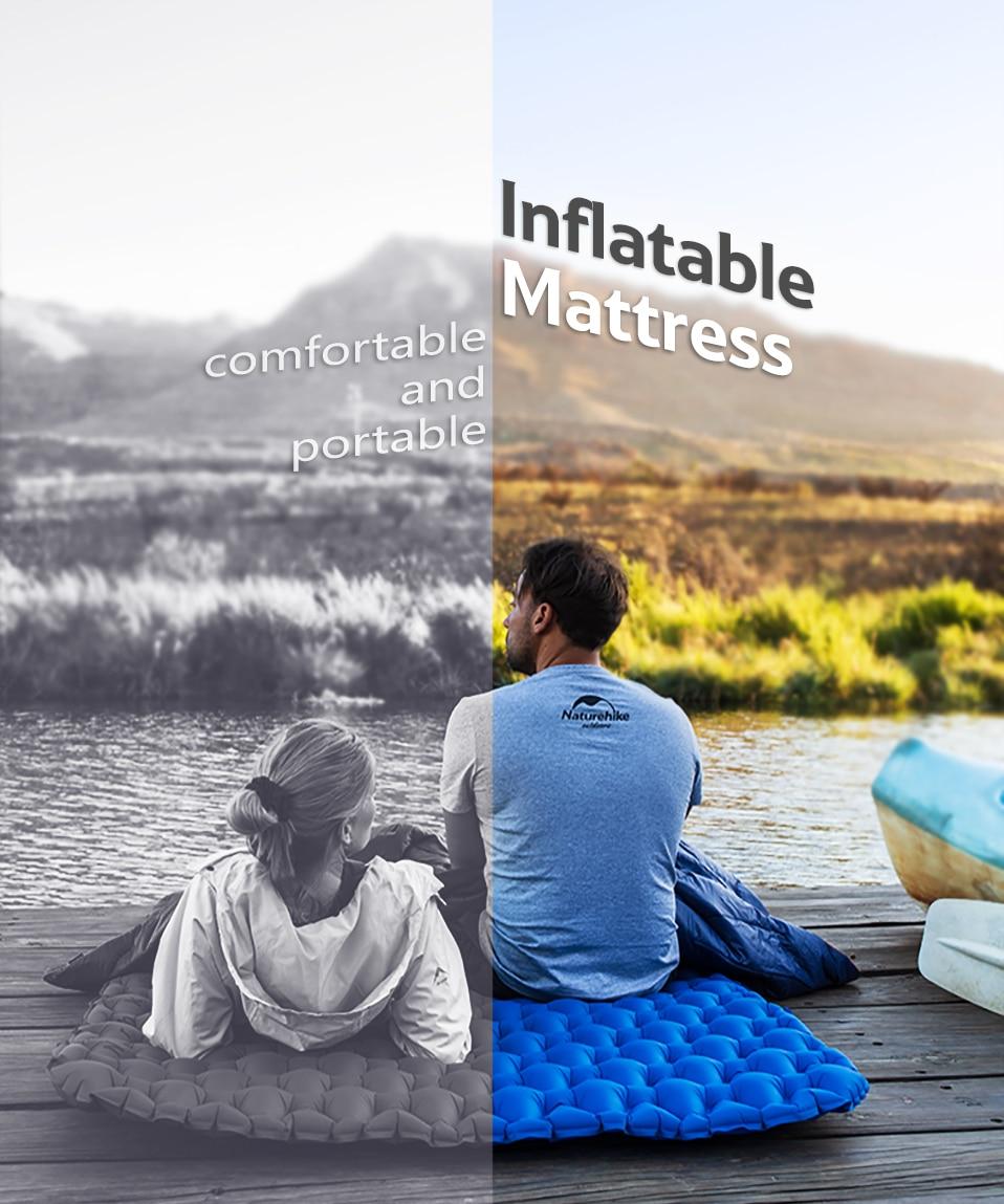 Naturehike Ultra-Léger 2 Personne Camping coussin de couchage Matelas Allongé matelas gonflable Portable Avec Air Sac Camping Tapis - 5
