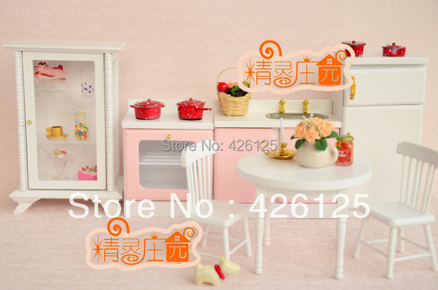 Dollhouse miniatura gran muebles de cocina refrigerador estufa ...
