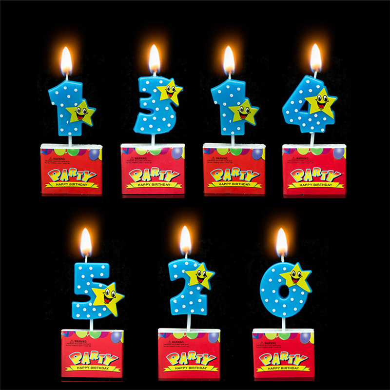 Image 0 9 Numbers Cake Candles Cartoon Lucky Star Boy Girl Kid S Birthday Cupcake