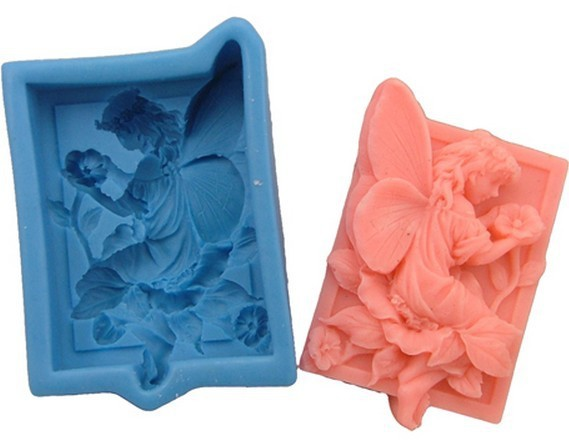 Flower Fairy Angel Square 3D Silicone Handmade Soap Mould Soap DIY Mold Resin Clay Craft Art Candle Making Mold 3D Soap Mold