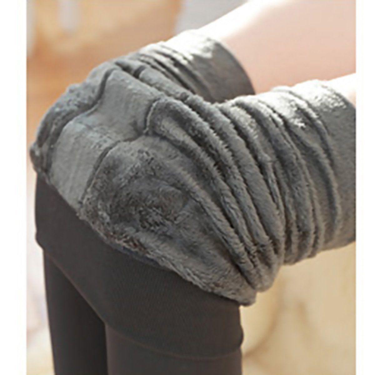 Женские однотонные зимние плотные теплые флисовые утепленные эластичные леггинсы Tihgts - Цвет: Серый