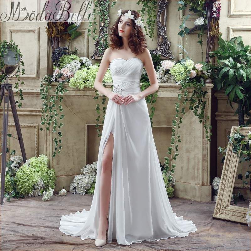 2016 designer cheap chiffon beach wedding dress bohemian style sexy side slit sheath vestido de noiva