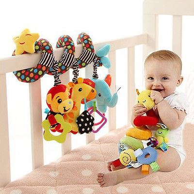 Baby Activity Spiral Bed Stroller Accessories Bag Buggy Cot Car Soft Toy Infant Kids Plush Gift Baby Toys Baby Stroller 3 in 1